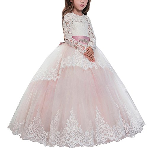 Festliches Mädchen Kleid Pinzessin Kostüm Lange Brautjungfern Kleider Hochzeit Party Festzug Blumenmädchenkleider Karneval Cocktailklei Gr. 104-152 #8 Rosa 2-3 Jahre