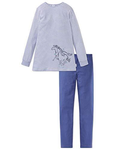 Schiesser Mädchen Pferdewelt Md Anzug lang Zweiteiliger Schlafanzug, Blau (Blau 800), (Herstellergröße: 128)