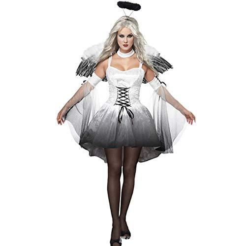 TUWEN Halloween Cos KostüM Erwachsene Schwarze Und WeißEs Engel Outfit Vampir DäMon ParteikostüM Maskerade MäDchen Cos Zeigen Kleidung (Für Mädchen Engel-outfits)