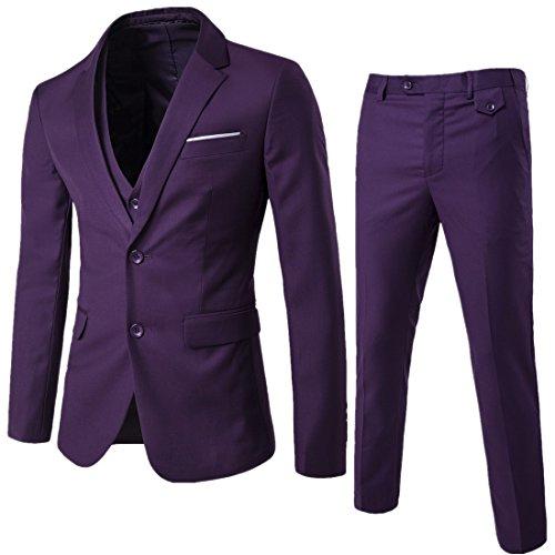 3-knopf-v-neck (WEEN CHARMHerren Kerbe Revers Slim Fit 3-teilige Anzug Blazer Jacke Tux Vest & Hose Set)