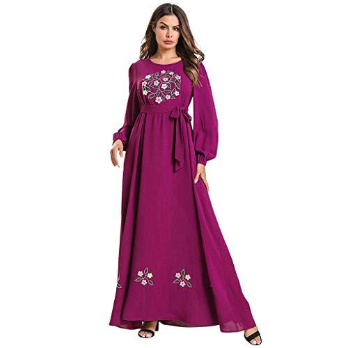 WUDUBE Damen Muslis Langarmkleid Vintage Rundhalsausschnitt Muslimische Roben Stickerei Kleider mit Laternenärmel, Beten Langkleid