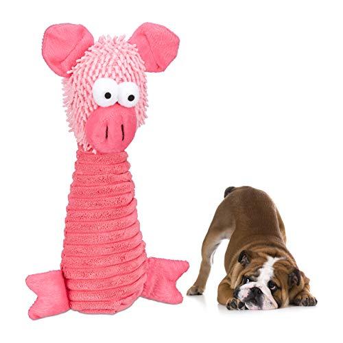 Relaxdays Hundespielzeug Plüsch, Quietscher, kleine & mittlere Hunde, Schmusen, Spielen, Hundekuscheltier Schwein, pink