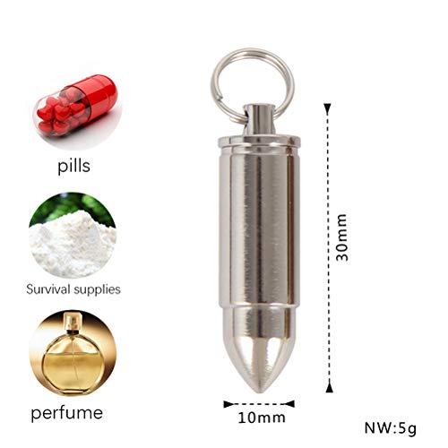 rproof Keychain Pill Holder, Leichte Camping Erste-Hilfe-Pille Container, Kugel Zylinder Anhänger Halskette für Herren Damen, Pocket Micro Aspirin & Nitroglycerin Pill Fob,Silver ()