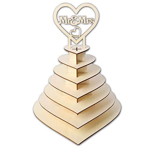 Hook.s Große 7-Schicht-Design 3D Dessert Ständer aus Holz Schokolade Display Stand herzförmig für Hochzeitsfest Home Decoration