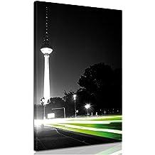 """Bilderdepot24 bastidor imagen - Cuadros en Lienzo """"Con vistas a la Torre de televisión de Berlín begro blanco"""" ( Berlín - Centro ) 80x140cm - Made in Germany!"""