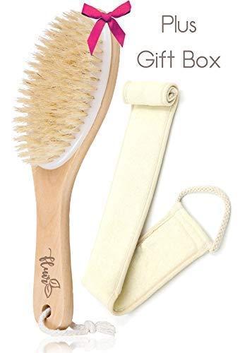 Körperbürste, für Anwendung auf trockener Haut, mit Luffaschwamm, Lavendelbeutel und Reisetasche