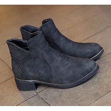 Rtry Zapatos De Mujer Pu Spring Pork Otoño Invierno Comfort Combat Boots Flat Heels Round Toe Para Casual Caqui Negro Gris Us6 / Eu36 / Uk4 / Cn36