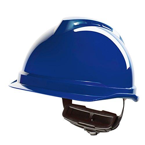MSA V-Gard 520 störlichtbogengeprüfter Elektrikerhelm EN 397 44V AC EN 50365 1000 V AC EN 13463-1 ohne Belüftung, mit Fleece-Innenausstattung, Farbe: blau Serie Mesh Cap