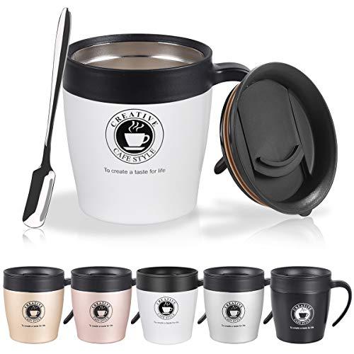 NUOSEM 330 ML Thermobecher, Kaffeebecher mit BPA-frei Deckel, Griff und Kleine Kaffeelöffel - Doppelwand Isolierung - Edelstahl Trinkbecher für Tee, Kaffee, Champagner, Bier, Weiß