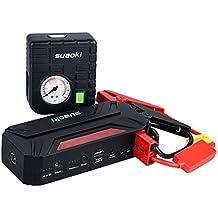 Suaoki T3 Plus - Arrancador de Coche 600A, Jump Starter 18000mAh con Mini Compresor de Aire (USB puertos 12V/16V/19V, linterna LED, PowerBank)