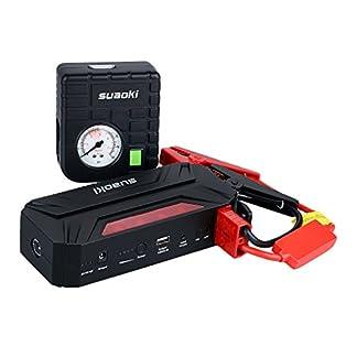Suaoki T3 Plus – Arrancador de Coche 600A, Jump Starter 18000mAh con Mini Compresor de Aire (USB puertos 12V/16V/19V, linterna LED, PowerBank)