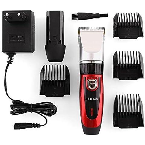 MVpower Cortapelo Recargable Inalámbrico de Cerámica Profesional con 4 peines, Para Pelo Bigote Barba Corta, Color