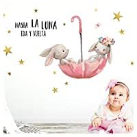 Little Deco Wall Sticker Up to The Moon & Bunnies in Umbrella I Vinyl Decal Baby Room Decoration DL252