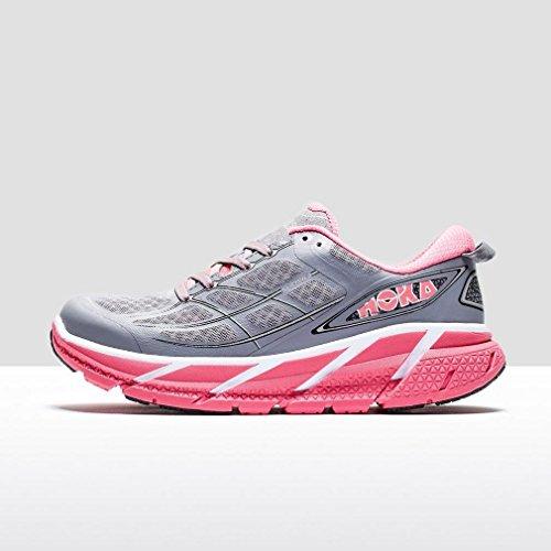 HOKA ONE ONE W CLIFTON 2 BLEUE Chaussures de running femme Gris / Rose fluo