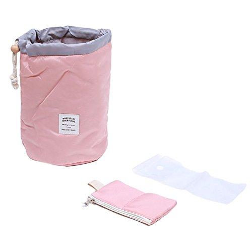 Lalang 3 Stück Tragbare Kulturbeutel Kosmetikum Aufbewahrungstasche leichte Reise Organizer-Taschen mit Kordelzug - ideal als Koffer-Organizer (rosa)