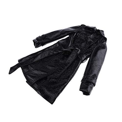 D DOLITY Puppe Winterkleidung - Schwarz PU Mantel Lederjacke - Puppenbekleidung für 1/3 BJD Puppe