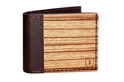 Portafoglio Lineari in pelle e legno – portafoglio vintage per uomo – portafoglio marrone – fatto a mano