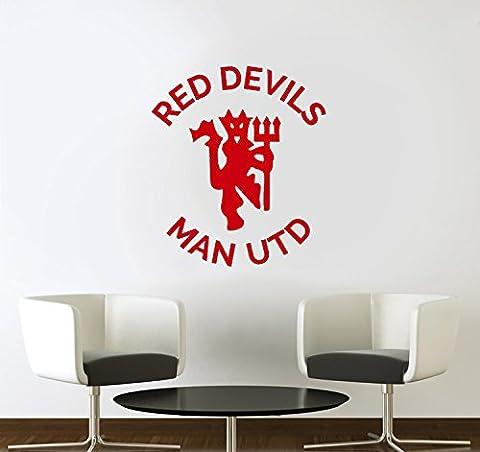 Red Devils Manchester United Football Club Vinyl Wall Art Sticker Aufkleber Wandbild Transfer Wand Schablone, Vinyl, Rot, 53x50