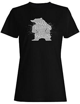 Oso Negro Salvaje Cosas en el bosque camiseta de las mujeres -m12f