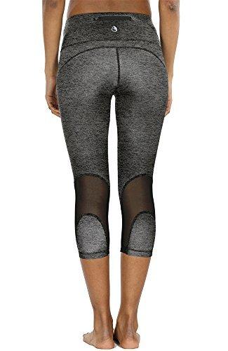 icyzone Damen Sport Mesh Leggings - 3/4 Sporthose kurz Training Tights Fitness Capri Yoga Pants (Charcoal, M)