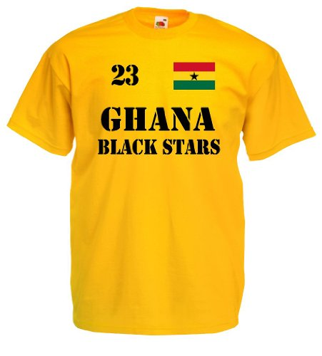 world-of-shirt Herren T-Shirt Ghana Black Stars Trikot Nr.23|gelb XL