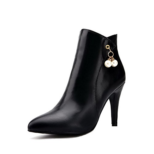 AgooLar Damen Hoher Absatz Quadratisch Zehe Rein Reißverschluss Stiefel, Schwarz, 35