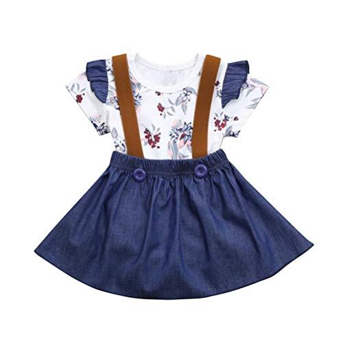 Baby T-Shirt Strap Kleid Weihnachten Outfits 2 Teile/Satz Kleinkind Mädchen Langarm Rüschen Top Overall Plaid Rock Kleidung Set (3-4 Jahre) (12-18 Monate, Cowboy)