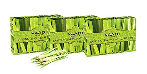 Confezione da 3 saponi naturali scrub lemongrass enticanti a base di carbone attivo - pulizia profonda dei pori esfolianti - prona all'acne - anti-acne - senza solfati - per tutti i tipi di pelle - vaadi herbals 3 x 75 gms