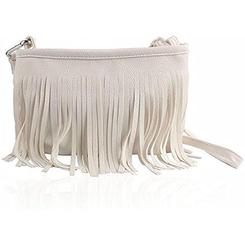 Sannysis® Hot nappa messaggero della spalla del sacchetto di frizione della borsa delle donne Satchel (bianco)