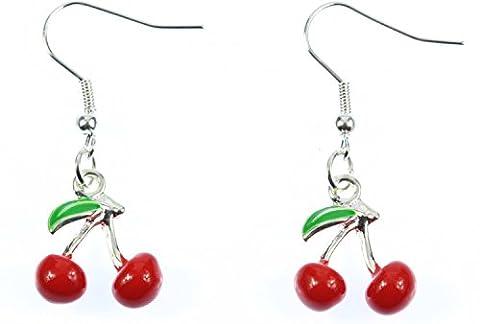 Boucles d'oreilles ornées de cerises rouge cherry miniblings rockabilly 3D émaillé cerise