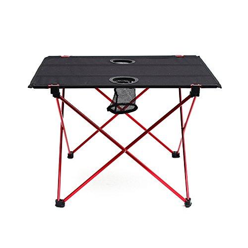 Outry tavolo pieghevole leggero con portabicchieri, tavolino piegato da campeggio portatile (medie-aperto: 56 x 43 x 39cm)