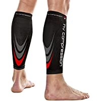 NV Compression 365 Calentadores de Pantorrilla de compresión Negros - Compression Calf Sleeves - Black - For Sports Recovery, Work, Flight - Running, Cycling, Fitness, Gym, Golf (Negro/Rojo, Med)