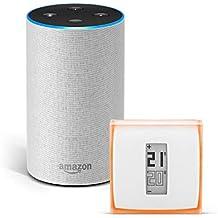 Amazon Echo (2.ª generación), tela de color gris claro + Netatmo Termostato Inteligente