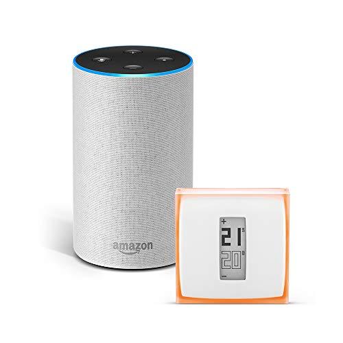 Amazon Echo (2.ª generación), tela de color gris claro + Netatmo Termostato...