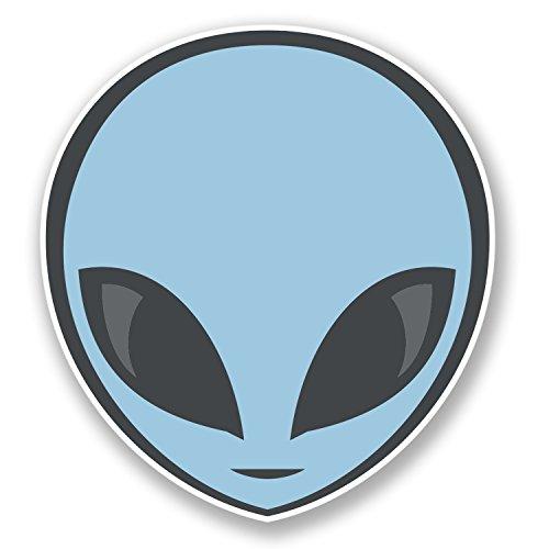 2 x Alien Vinyl Sticker iPad Laptop Car Skateboard Skate Helmet Space UFO #4474