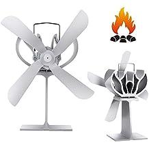 ZPL Ventilador de Estufa accionado por Calor de 4 Cuchillas para Madera/ Estufa/Chimenea
