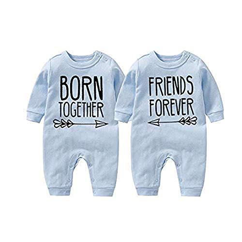 culbutomind Born Together Friends Forever Cute Twins - Body para bebé Azul Blue 1 10-12 Meses