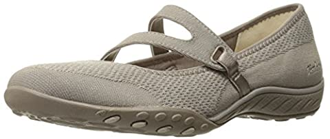 Skechers Womens Breathe-Easy-Lucky Lady Mary Jane Flat, Taupe Knit Mesh/Light Taupe Trim, 7UK
