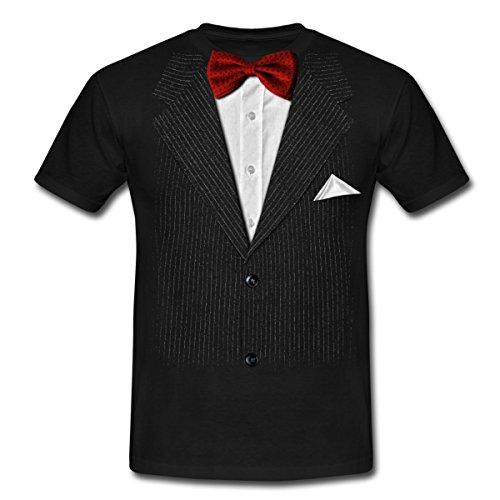 Anzug Mit Fliege Scherz Männer T-Shirt, L, Schwarz (T Shirt Mit Anzug)