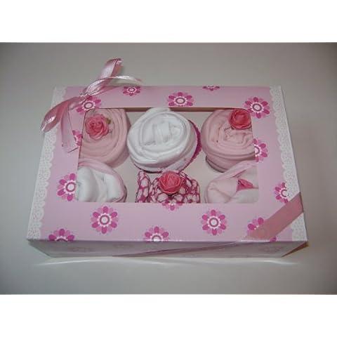 Confezione da 6 pezzi, motivo: cupcake con body Girl (-)
