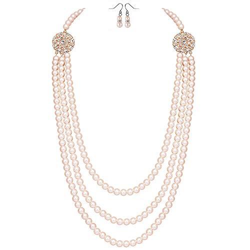 ArtiDeco 1920er Jahre Gatsby Multi-Schichten Imitation Perlen Kette Retro Damen Halskette mit Kristall Blume Brosche und Perlen Ohrringe (Rose Gold-Stil 2) (Ohrringe Kette Schicht)