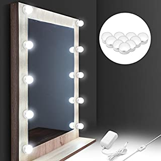 Mirror Lights,AuledioMakeup Mirror Light Hollywood Style Kit Vanity Mirror Lights with 10 Dimmable Led Bulbs and Power Plug 14.43ft 4000K IP65 Waterproof Wall Mirror Lamp for Bathroom, Bedroom and Decoration-White