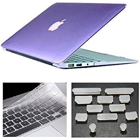 HYAIT 3in 1Ultra Sottile Cristallo Hard Case + tastiera copertura + Anti-Dust Plugs per Apple Macbook Air da 11.6A1370e A1465, colore: viola