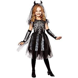 WIDMANN 07485 - Disfraz infantil de esqueleto de novia, para niña, color negro y gris, 116 cm