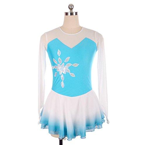 Heart&M Eiskunstlauf Kleid Frauen und Mädchen 'Ice Skating Dress Wettbewerb Leistung Spandex Quick Dry Pailletten Langarm Skating tragen, XXL