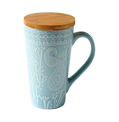 Handgemalte Prägen Keramik Kaffeetasse, Blaue Große Kapazität Becher Personifizierte Hohe Kaffeetasse Tee Tasse Mit Hölzernem Deckel, Für Geschenk Und Haushalts, Büro 480ML Hohe Tasse