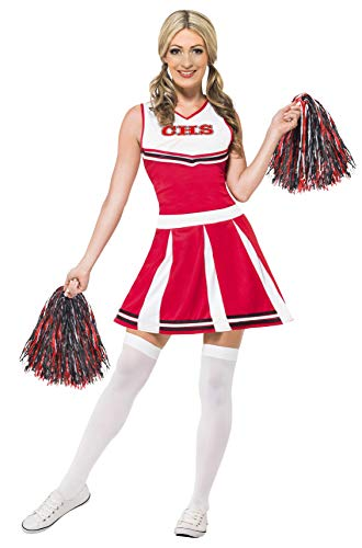 Fancy Dress Kostüm Glee - Smiffy's 40065S - Damen Cheerleader Kostüm, Kleid und Pompons, Größe: 36-38, rot