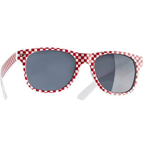 dressforfun 900646 Unisex Gli Occhiali da Sole, a Cuadri, Bicolore, Costume Tradizionale Oktoberfest -Diversi Colori (Rosso-Bianco | Nr. 303248)