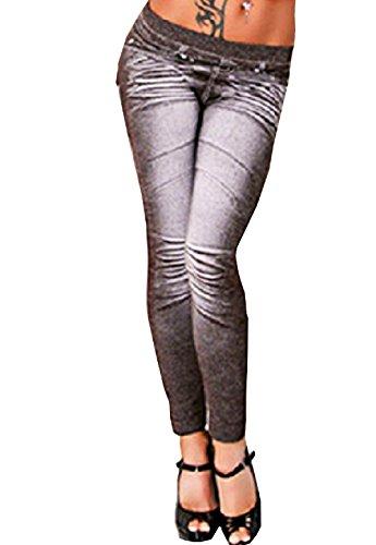 Gamaschen-Jeans für Frauen-Modell One Size Farbe Schwarz Druck mit Herzen und (Die Kostüme Versuchen Jungs)