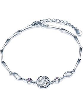 Yumilok 925 Sterling Silber Lila Zirkonia Taiji Yin-Yang Charm-Armband Armkette Verstellbar Armkettchen Armschmuck...